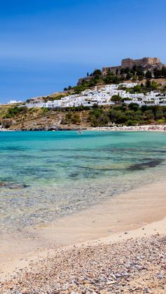 Lindos Beach, Rhodes, Greece. For luxury hotels in Rhodes visit http://www.mediteranique.com/hotels-greece/rhodes/