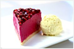 Pomegranate Cheesecake with Clementine Gelato - no flour, no added sugar, dairy free, gluten free