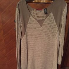 Long tan sweater Long tan sweater XL. Lovely with brown boots. BKE Sweaters