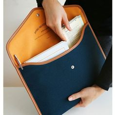 A4 Canvas pouch case for document, diary, note, iPad - navy blue by Invite.L. A4 size document or everything what you preserve from analogue to digital.