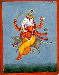 muirgilsdream: Ganesh flying through the air on his mouse.
