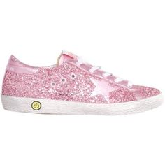 Golden Goose Glitter Super Star sneakers found on Polyvore featuring shoes, sneakers, pink, rubber sole sneakers, genuine leather shoes, leather shoes, pink glitter sneakers and golden goose trainers