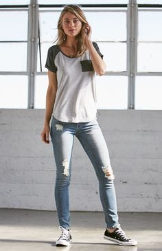Jeannie Blue Ripped Low Rise Skinny Jeans<< this is my go too look jeans a t-shirt. Pinterest: daydreamerteen