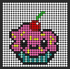 Cute Kawaii Cupcake Perler Bead Pattern / Bead Sprite