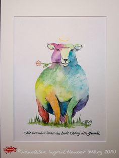 """No. 015 der wandklex-Unikatserie """"Ich war schon immer das Bunte Schaf der Familie"""" - nummerierte Einzelstücke! Ihr eigenes Schaf können Sie als Ihr Designerstück von wandklex® Ingrid Heuser, Ratzeburg, Germany bestellen:  im kleinen Klexshop bei DaWanda auf http://de.dawanda.com/shop/wandklex ©  Kunstatelier wandklex Ingrid Heuser, D-Ratzeburg Besuchen Sie mich auch auf facebook: https://www.facebook.com/wandklex"""