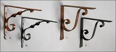Wrought-Iron Shelf Brackets - Hardware Wrought Iron Shelf Brackets, Rural Mailbox, Diy Ideas, Wall Lights, Hardware, Woodworking, Shelves, Craft, House