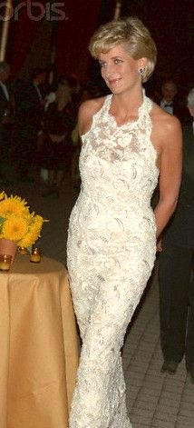 DIANA | Diana wearing a Catherine Walker designed pearl, sequin and crystal embroidered Riechers lace dress at the fund raising gala for the Nina Hyde Centre for Breast Cancer Research in Washington, DC, in September 1996. The embroidery was designed to emulate the subtlety of antique pearls. Catherine Walker since deceased, was recovering from breast cancer at the time.