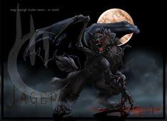 Anime cool dragon werewolf