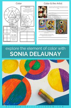 Learn about the element of color through this in depth study of artist Sonia Delaunay. Learn about color theory - all the planning is done for you!