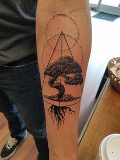 Bonsai tree, by Duke at Art & Soul Tattoo, Middleton WI