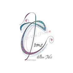 Instant Digital Download Love Lines Letter C for Come Follow Me Matthew 4:19 Abstract Doodle Drawing Calligraphy Scripture Bible