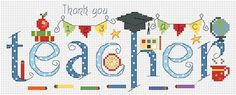 Thank You Teacher Cross Stitch Kit - £18.95 on Past Impressions   Occasion embroidery pattern by Nia