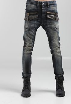 Mens Denim Motorcycle Jeans Pants HIP HOP Korean Fashion Style Designer Trousers | eBay