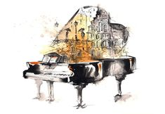 art-piano-notes-rain-people-town-picture-watercolor.jpg (1920×1322)