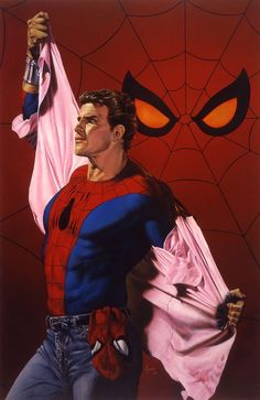 Why does Spiderman look like David Hasslehoff? : Peter Parker/Spider-Man by Joe Jusko Amazing Spiderman, Art Spiderman, Parker Spiderman, Comic Book Artists, Comic Book Heroes, Comic Books Art, Comic Art, Marvel Comics Art, Marvel Heroes