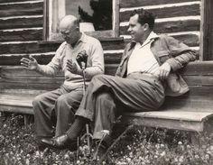 Richard Nixon and Dwight Eisenhower sharing a moment at Camp David: