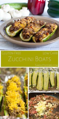 Summertime means fresh veggies and since we love zucchini around here, we bring you stuffed zucchini boats. Low-carb and gluten-free, they are filled with meat, veggies, cheese, and big flavor. | SimpleFood365.com