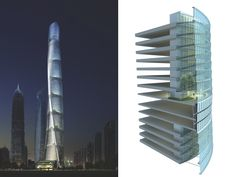 "Jun Xia -Project-Design Architect, Shanghai Tower, of the most audacious construction projects in history, 121-flrs ( wrld 2nd tallest), More impressive: it could be the greenest;  40mph elevators regenerate electricity, reducing power by 30%. 9 ""neighborhoods"" stacked—each w/lobby, shops & cafés, minimizing trips to the base. Typhoon- tough aerodynamics saves ~58M in material/construction costs. Sky gardens of trees and plants to moderate temp & air quality. TURBINES power exterior…"