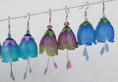 Transparent Organic Bell Earrings  Polymer Clay Tutorilal