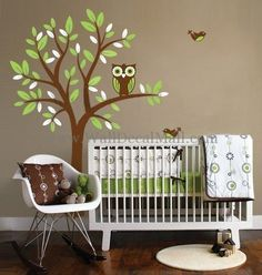 Owl On Tree With Flying Birds Wall Decals