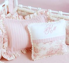 Pink Toile Crib Bedding by Doodlefish_Love this for a girl, but black & white.