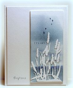 handmade card: Freedom by Biggan . delicate cat tails die cut in white .By Birgit Edblom (Biggan at Splitcoaststampers). Used Cattails die. Background made with Distress inks (sponged).Freedom by Biggan - Cards and Paper Crafts at Splitcoaststampers( Spellbinders Cards, Stampin Up Cards, Die Cut Cards, Marianne Design, Tampons, Watercolor Cards, Sympathy Cards, Masculine Cards, Scrapbook Paper Crafts