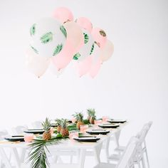 Palm Fronds + Bon Bons! That's what we dubbed this dinner party shoot with @balloontimeheliumtanks that's now up on the blog! DIY palm frond balloons and all! Eeep!! Gotta say, this may be one of my favorite shoots to date. www.studiodiy.com ( by @marycostaphoto, amazing table runner styled by @beautilitarian)