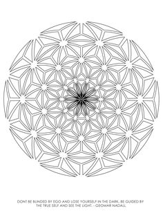 SACRED GEOMETRY COLORING BOOK - ILLUSTRATIONS BY ROOZ KASHANI This sacred geometry coloring book contains 40 unique geometrical coloring pages. Each coloring page includes an inspirational quote. The designs range from simple to complex, and each one is printed on its own page to help avoid bleed through when coloring with markers. My intention in creating this sacred geometry coloring book, is to inspire a space where the mind can let go and be in peace, balance and harmony.