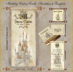 Cinderella Wedding Theme Invitations Vintage scroll invitation