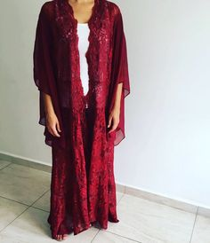 Maroon abaya with lace from France .