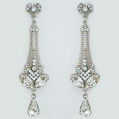 Curly Top Crystal Bridal Earrings Art Deco