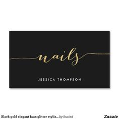 Black gold elegant faux glitter stylish nail salon Double-Sided standard business cards (Pack of 100)