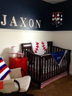 Baseball Nursery Wish I Had Have Seen This Wall Art Earlier Soooo Cute And Even Made Our Top Two Baby Boys Names Sports Themed Rooms Pinterest