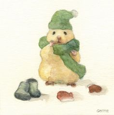 Japanese Artist Depicts the Typical Life of His Hamster Gotte, a Japanese artist and art college graduate, has focused his creative skills on a very c Cute Animal Drawings, Cute Drawings, Japanese Hamster, Baby Animals, Cute Animals, Cute Hamsters, Dwarf Hamsters, Watercolor Pictures, Japanese Artists