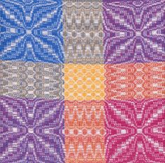 Weave-Away: overshot where warp and tabby weft are brightly colored, and pattern weft is white.