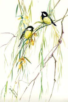 Bird artwork Eurasian Blue Tit and Weeping Willow original watercolor painting, bird art, green blue small original painting bird lover art by ORIGINALONLY on Etsy