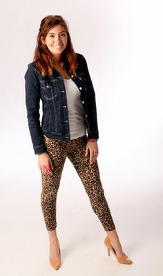 Laura shows off her classic and edgy style with this look. She's comfortable and trendy in animal print leggings from Rue 21 ($4) and nude color pumps by Restricted from TJ Maxx ($16). Her white t-shirt is from Nordstrom Rack ($8), and her fabulous Levi's denim jacket is one of her most expensive possessions from JC Penney ($50). (Allison Carey/The Plain Dealer)