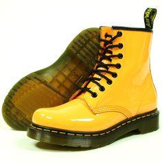 #DocMartens #Womens 1460W Patent 8 Eyelet Boots Acid Orange
