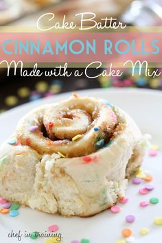 Cake Batter Cinnamon Rolls {Made with a Cake Mix!} Wonder how these would be with a Gluten Free Cake mix?