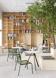 Cafe Interior Design, Cafe Design, Interior Architecture, Cafe Restaurant, Restaurant Design, Cat Ideas, Bookstore Design, Design Exterior, Coffee Shop Design