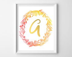 fall watercolor initial printables