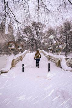Man walking through bow bridge at NYC Central Park Winter storm. New York Art, Winter Storm, Central Park, New Day, Brooklyn, Bridge, Walking, Nyc, Art Prints
