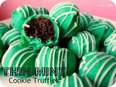 No-Bake Thin Mint Cookie Truffles...just three ingredients and perfect for St. Patty's Day!