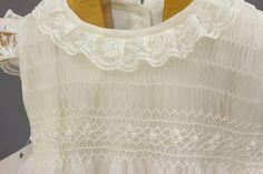 Vestido de bautizo para niña de organza de seda marfil con
