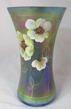 Fenton Cobalt Carnival Glass Iridescent Vase Limited Ed. Gary Williams Design #Fenton