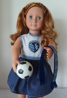 """Sporting KC Dress and Scarf for American Girl or 18"""" Doll"""