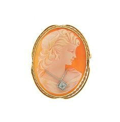 14K Gold Shell Cameo Diamond Brooch Pendant Featured in our upcoming auction on October 20!