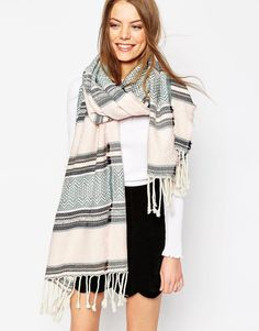 Image 1 of ASOS Scarf In Pastel Aztec With Fringe