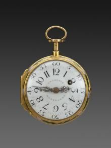 François Beeckaert (master in 1746), Gold and Enamel Repeating Verge Watch, Paris, 1750−55, gold and enamel on gold, The Frick  Collection, New York, Bequest of Winthrop Kellogg Edey; photo:  Michael Bodycomb