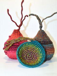 FIBRE ART VESSEL - woven - coiled - textile art - ooak. $35.00, via Etsy.